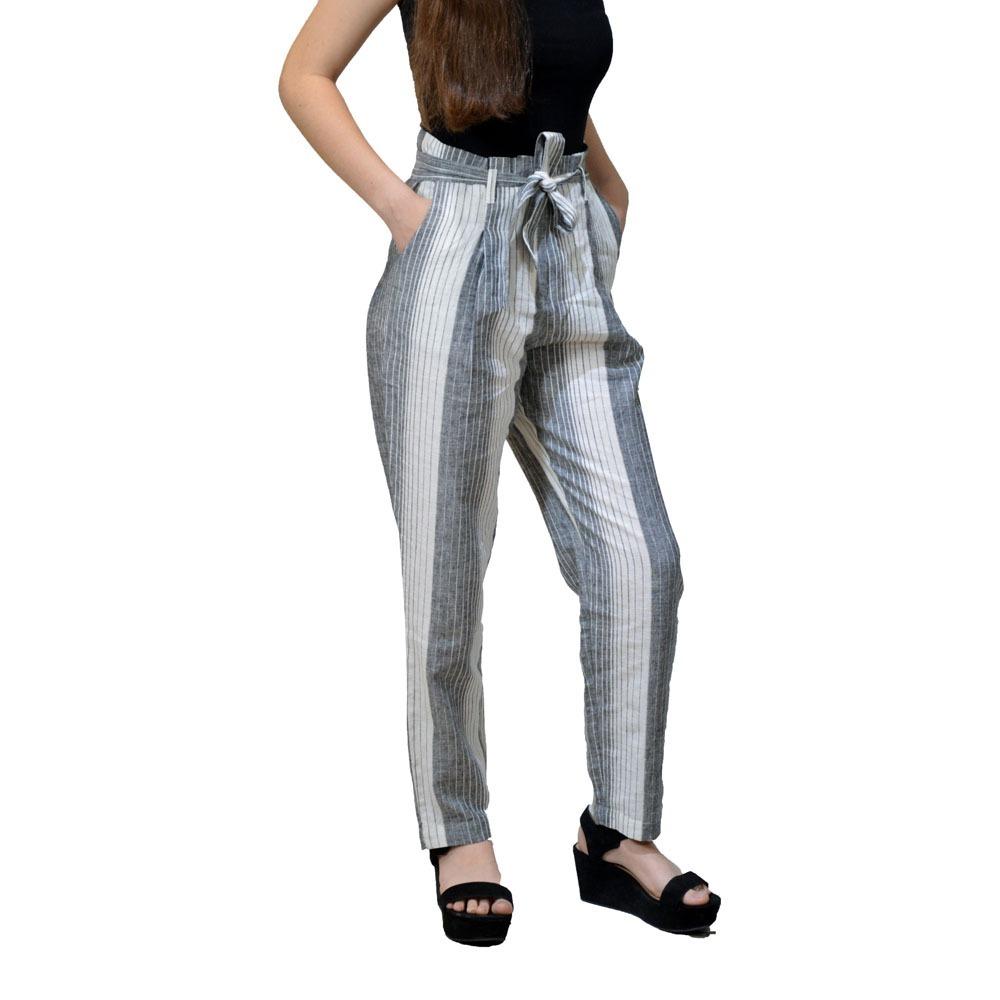 Pantalon Mistral Lino Lazo Cintura Rayado 45961 Mujer Ver19 ...