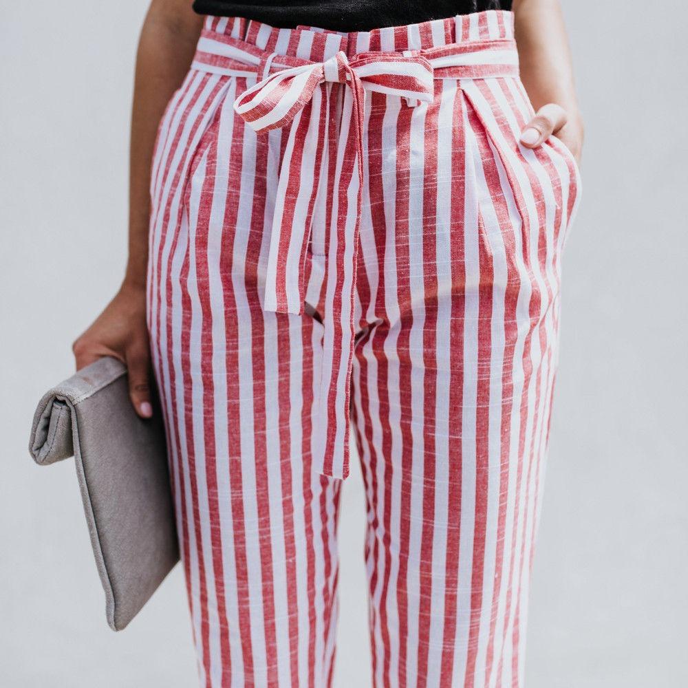 ba3d9a8d16 tiro alto de vestir mujer Cargando pantalón babucha con lazo zoom rayas  wFtqIUWU