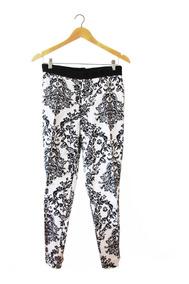 Pantalón Mujer Estampado Blanco Y Negro Importado Zara T. Xl