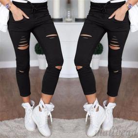 nueva productos calientes Donde comprar tecnicas modernas Pantalon Mujer Fashion Rotos Denim Skinny Pants Slim Negro /
