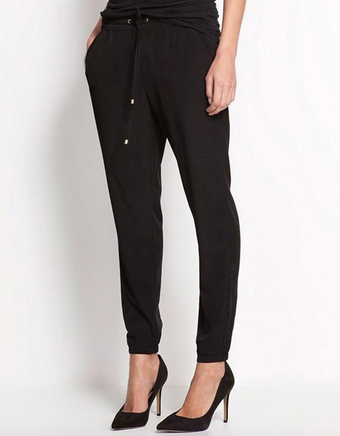 primera vista alta calidad promoción Pantalón Mujer Jogger Negro Cordones Cintura Alta Stretch