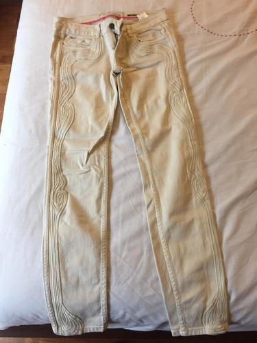 pantalon mujer rkf color cremita 38 bordados