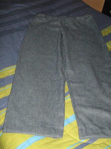 pantalón mujer tela azul suelto talla 38