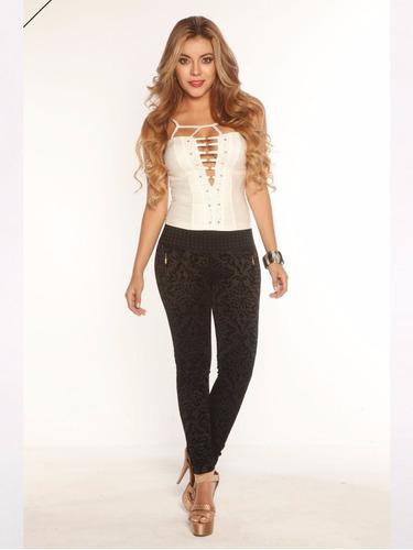 pantalon negro mujer ajustado moda stretch