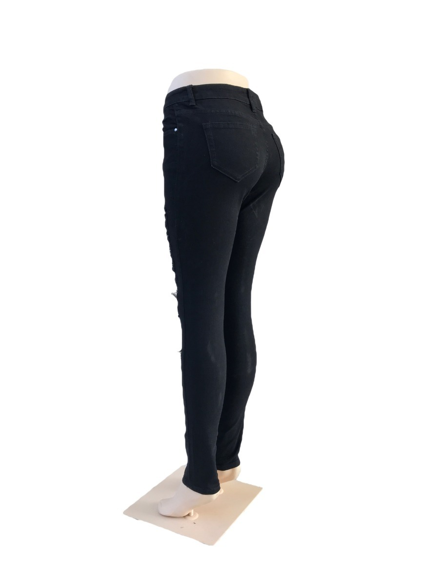 04de738b17 Pantalon Negro Mujer Roto - Entubado Entrega Inmediata! -   399.00 ...