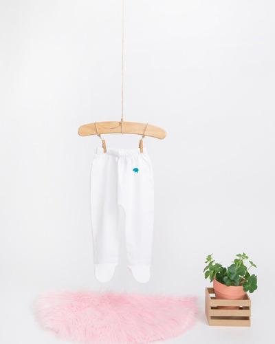 pantalon niña - blanco / costura rosada (3-6 meses)