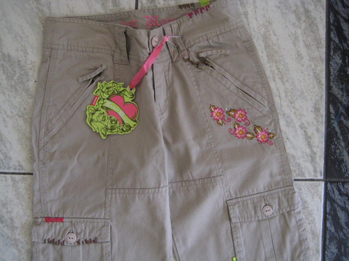 pantalon niña, talla 12, beige con bordados. 100% algodon