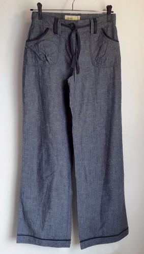 pantalón palazzo de dama jean fino 100% algodón