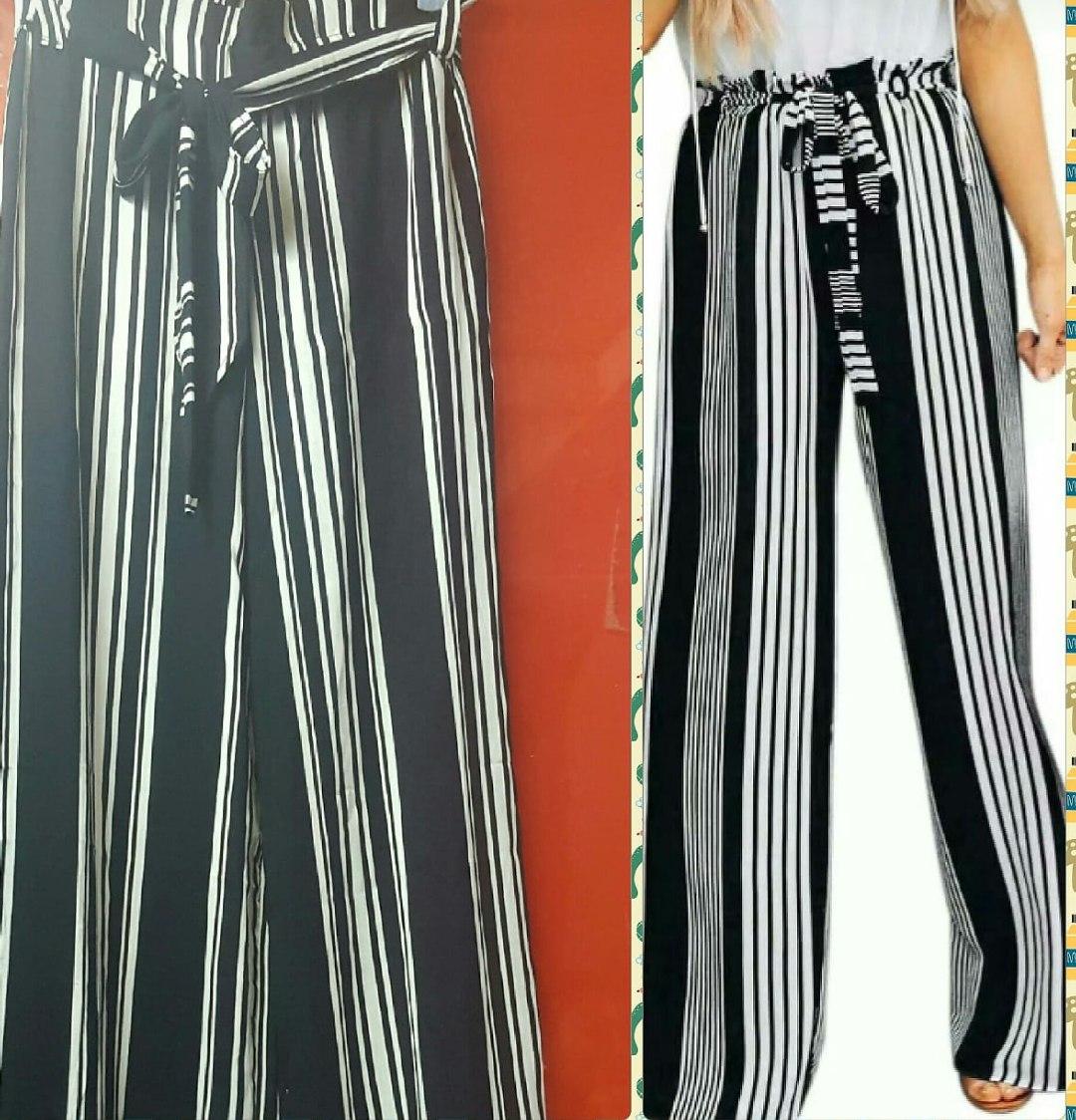Para estrenar 0f468 8bcdf Pantalon Palazzo Mujer Rayado Fibrana Moda 2019