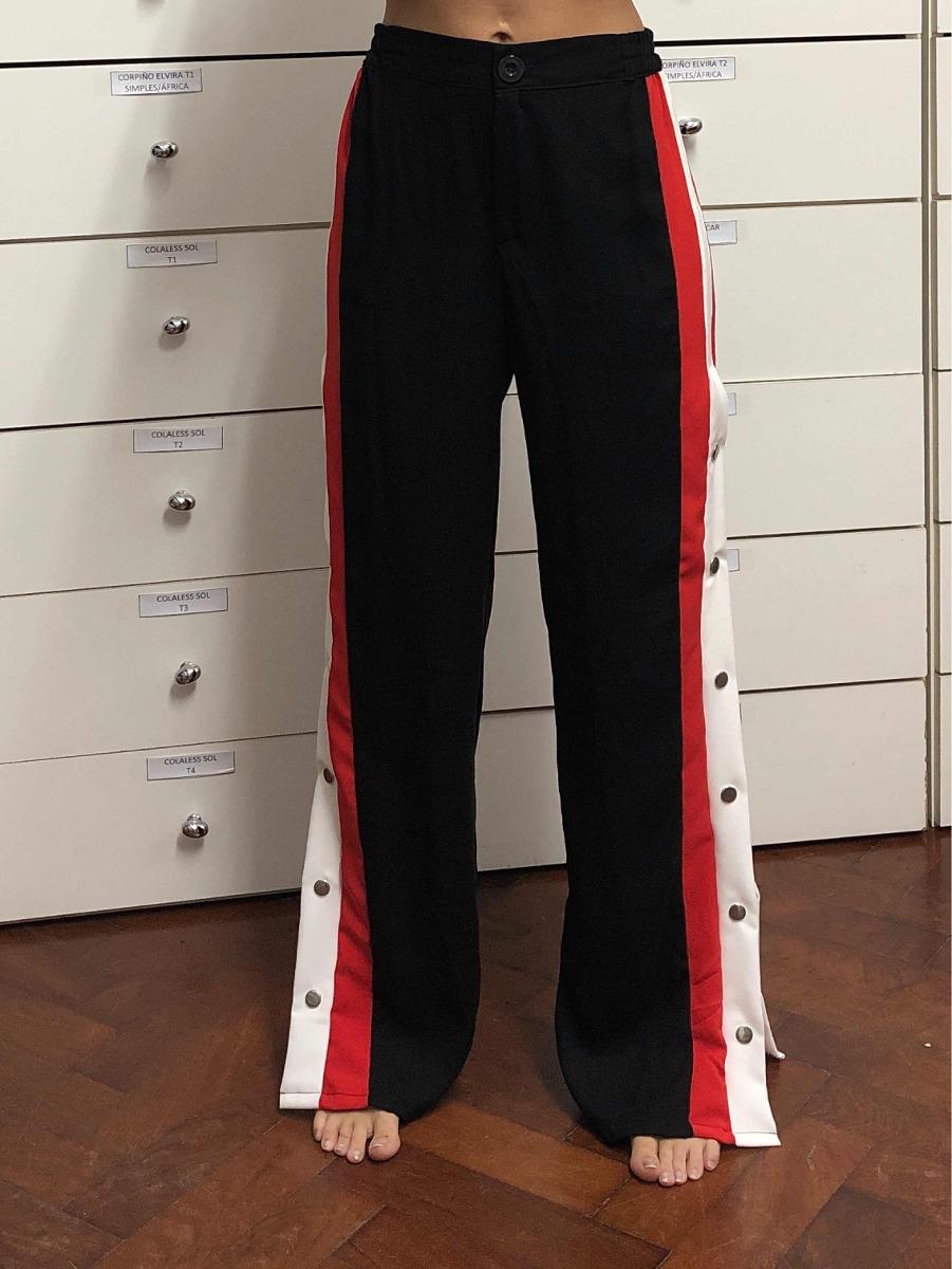 Zoom Pantalón Botón Blanco Negro Rojo Y Cargando Con Palazzo 1qr1wp8
