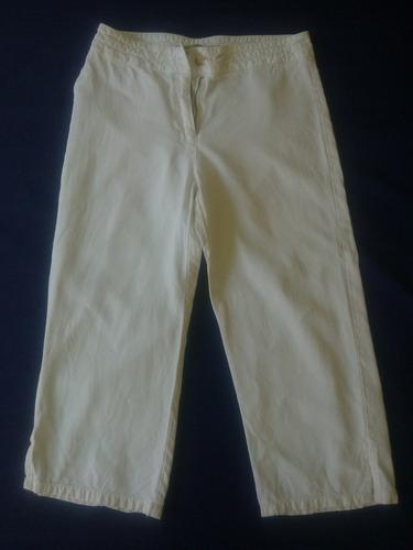 pantalón pescador mujer blanco  talla 40