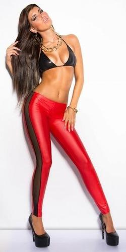 pantalón tipo piel atractivo y sexy, color rojo