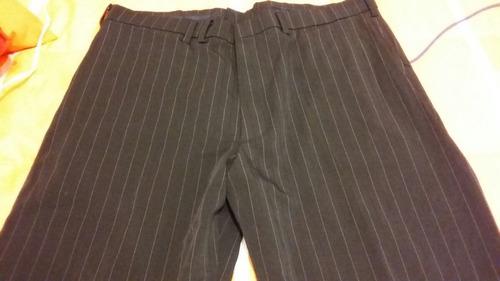 pantalon vestir hombre negro a rayas blancas talla 40 liso!