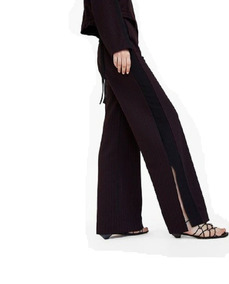 Pantalon Negro Con Raya Blanca Pantalones Zara Mujer