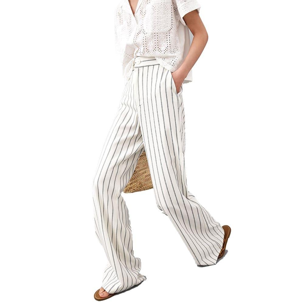 9b960c05 Zara Palazzo Zoom Rayas Lino Pantalon Cargando Uxpwq7gq