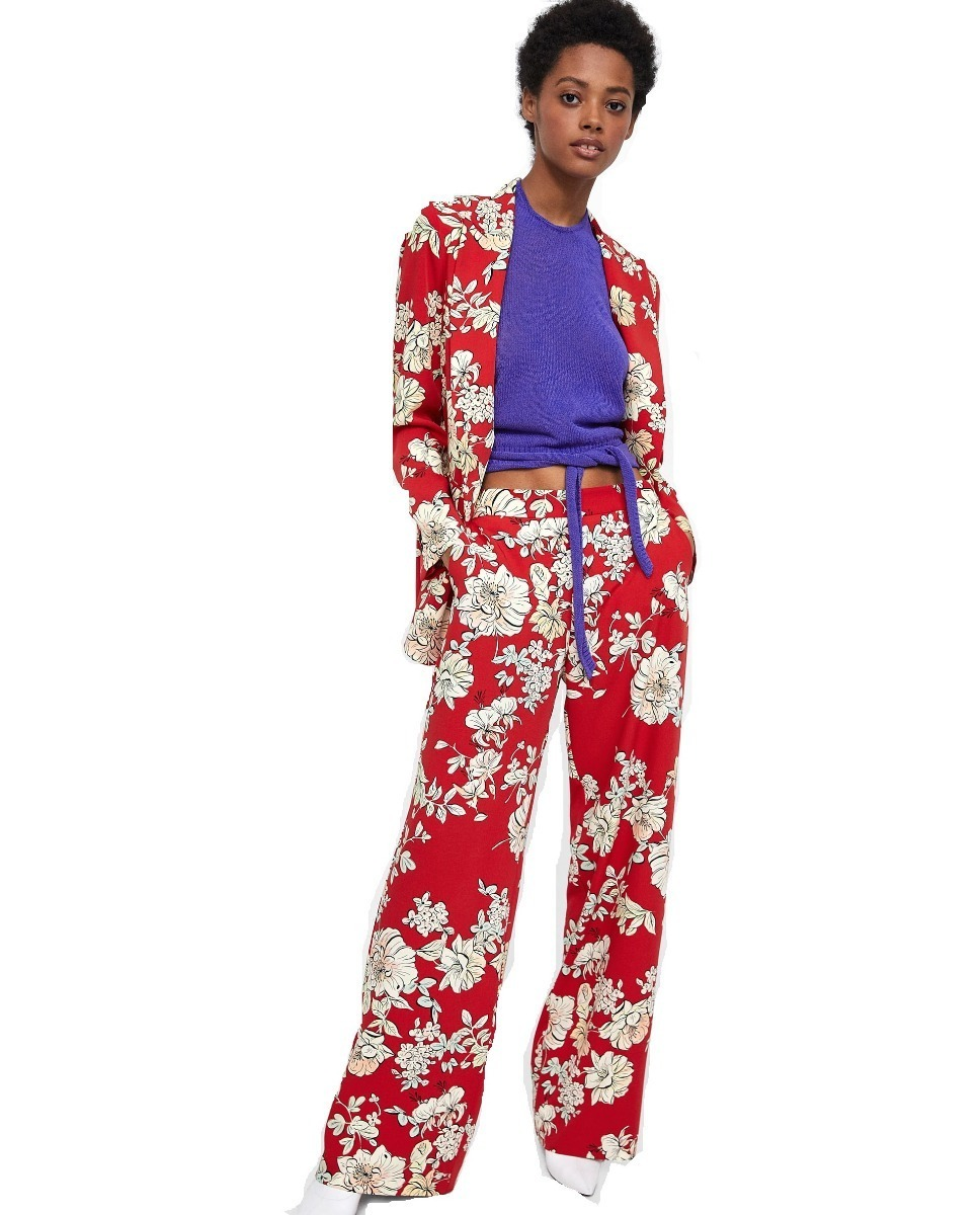 Zoom Zara Palazzo Saten Pantalon Cargando Flores S4q6S8C ae83a26311ca