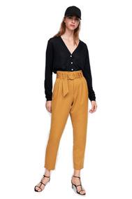 Mostaza Tiro Palazzo Alto Color Pantalones Mujer Calzas 4LqAj35R