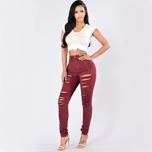 pantalone capris dama forman agujero pie jeans f7ww