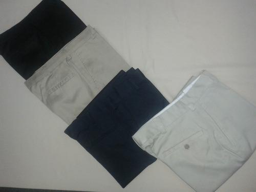 pantalones  casuales  sin pinzas en tela drill importado