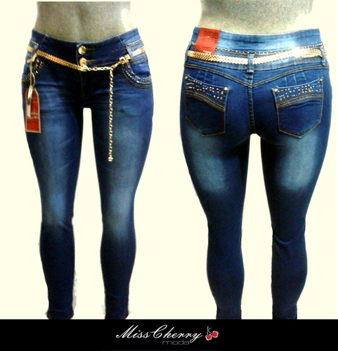 Pantalones Colombianos Levanta Pompa Cristales Jeans ...