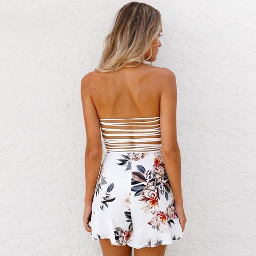 pantalones cortos de mujer floral v-cuello... (white, ta.)