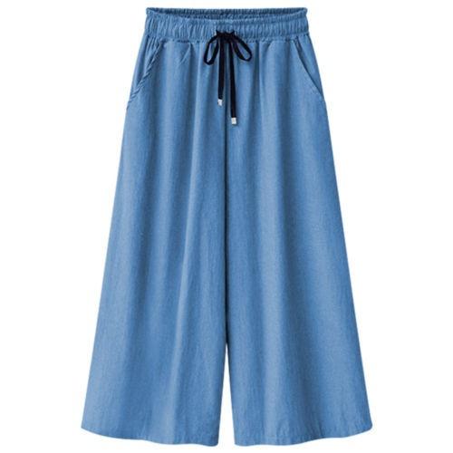 pantalones denim de pierna todo el verano... (skyblue, l)