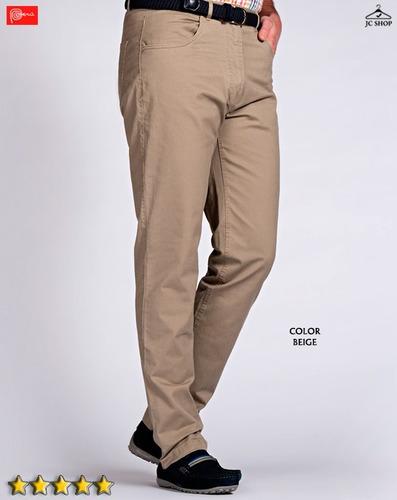 pantalones drill regular fit algodón entalle clásico hombre