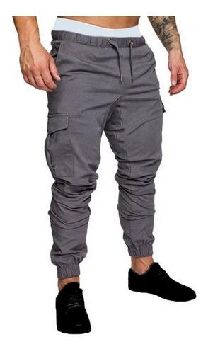 pantalones hombre cargo gabardina bolsillos casuales jogger