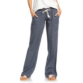 5d90025f63 Pantalon Lino Roxy Mujer Grisoscuro Oceanside Arjnp03006kym0