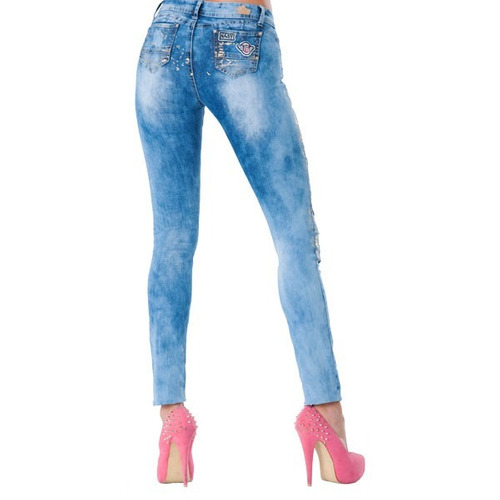 pantalones jeans dama ajustado cadera con parches didijin
