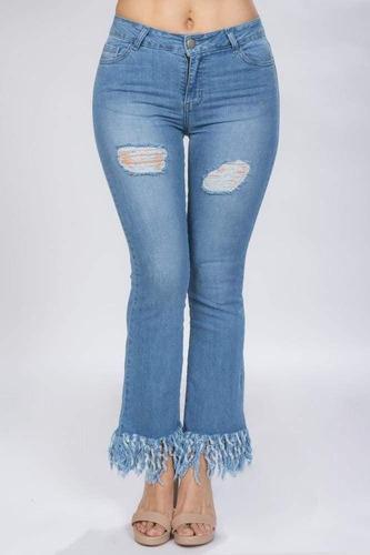 pantalones mezclilla dama jeans desgarrado acampanado v81105
