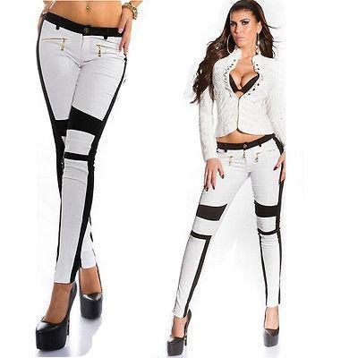 pantalones mujer sexy cremallera jeans... (white, s)