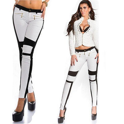 pantalones mujer sexy cremallera jeans... (white, s)