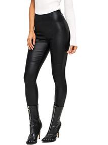 disponibilidad en el reino unido 60% barato chic clásico Pantalones Negros Para Mujer Ajustados De Piel Sintética