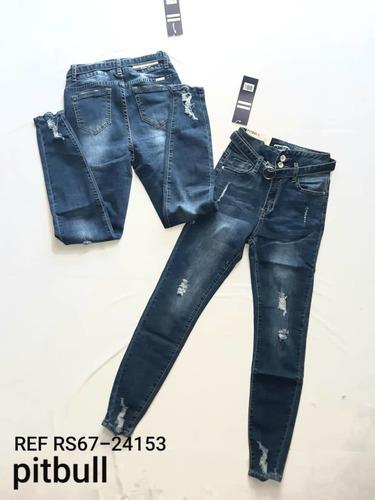 pantalones pitbull jeans de dama full stretch mayor y detal