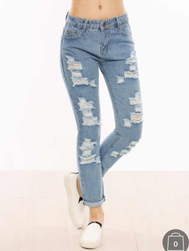 Pantalones Rasgados Marca Shein Nuevos - $ 300.00 en ...