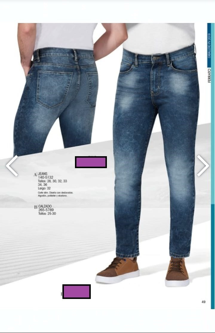 2cf36d4f9514d Pantalon jeans P caballero Ferrato andrea 140-5132 Slim -   760.00 en Mercado  Libre