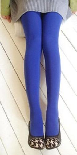 pantimedia semi opaca azul talla chica