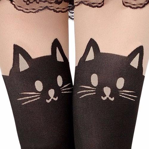 pantimedias girl dama sexy gato cola tatuaje impreso sexy