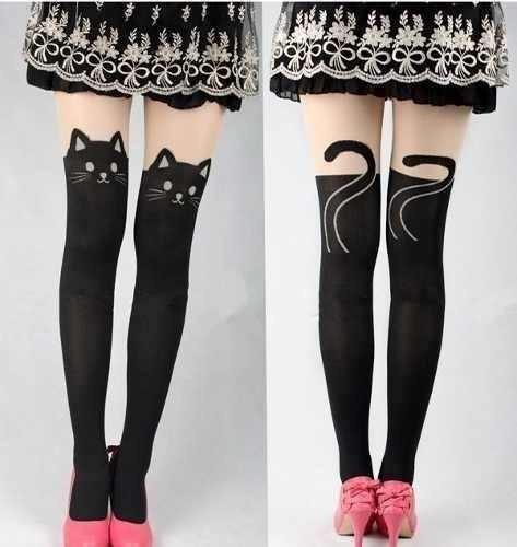 pantimedias medias over knee tatto gatio moda japonesa