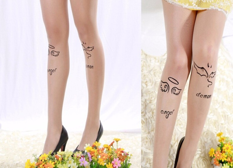 Pantimedias Tattoo Kawaii Modelo Angel Y Demonio Japon Corea