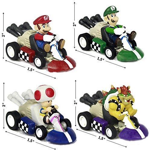 Super Mario Bros Karts Figuras Juguetes 6 Piezas Set de Tracción Racer Cars