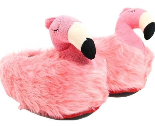 pantufa flamingo 3d original solado de borracha