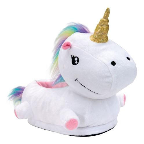 pantufa unicornio 3d original solado de borracha