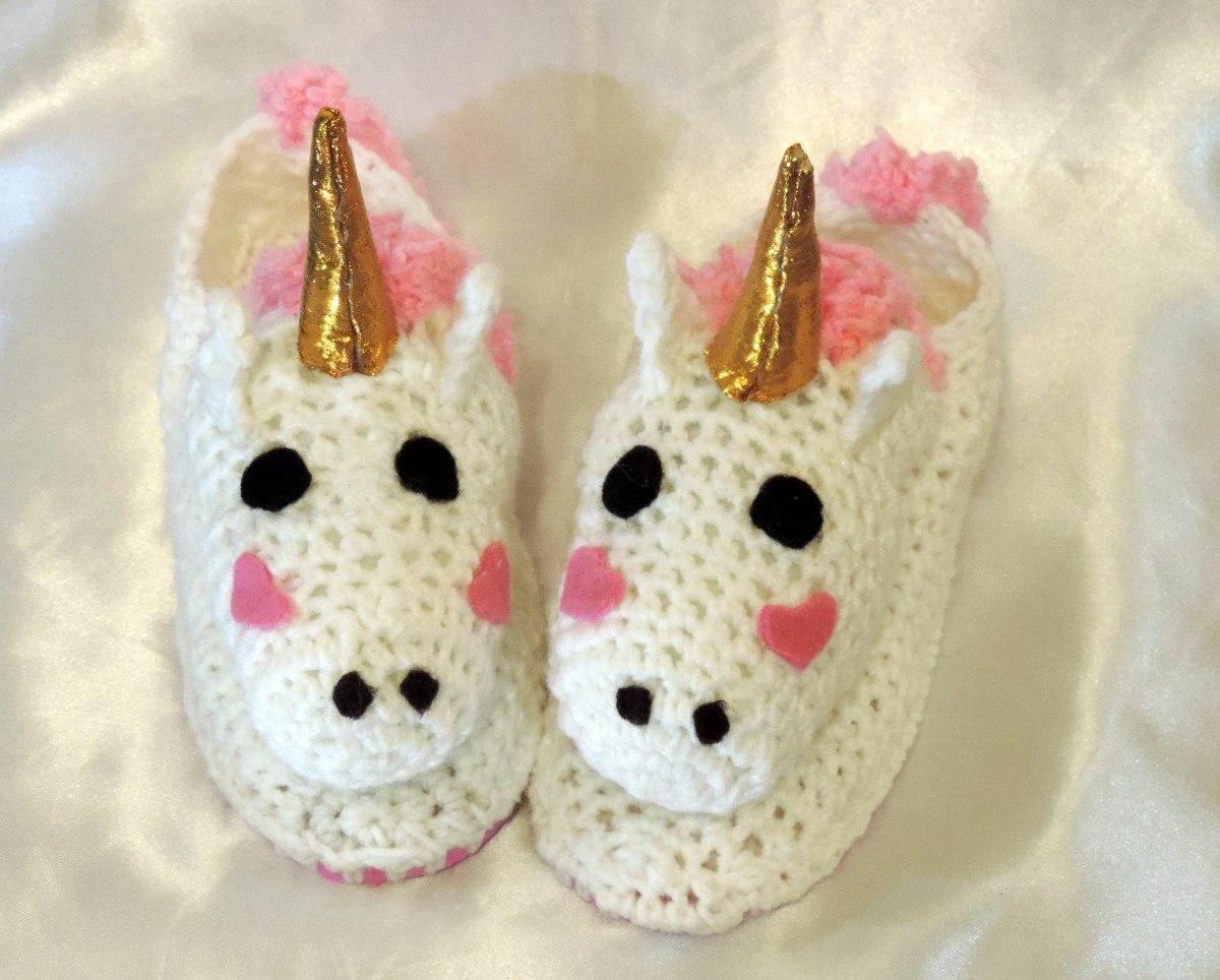 Pantufla Unicornio Con Luz - Tejido - Crochet - $ 850,00 en Mercado ...