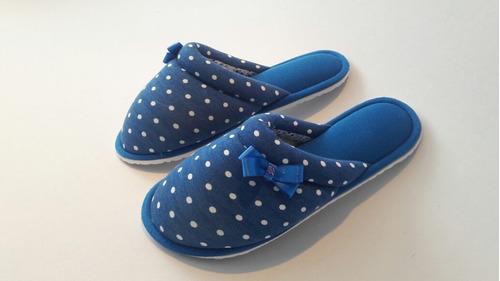 pantuflas babucha algodón tipo materna azul punto blanco
