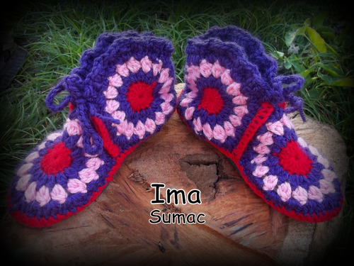 pantuflas crochet patchwork forradas. artesanales. t 35/39