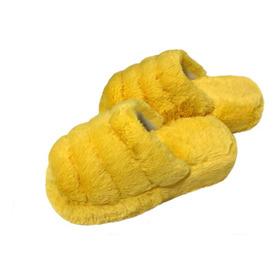 Pantuflas De Piel Fluffy Amarillas