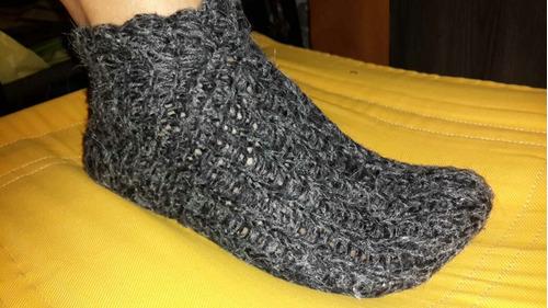 pantuflas medias lana tejido a mano