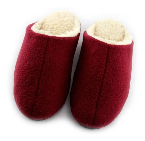 pantuflas paño vinotinto/rojas